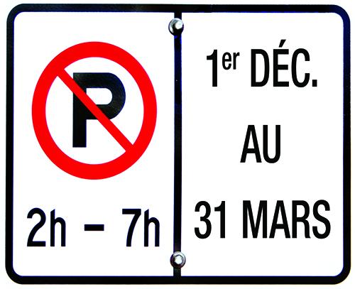 Stationnement interdit de nuit - Ville de Mont-Saint-Hilaire
